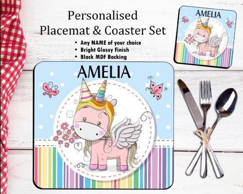 Personalised Placemat & Coaster Set N16 - Rainbow Unicorn and Butterflies